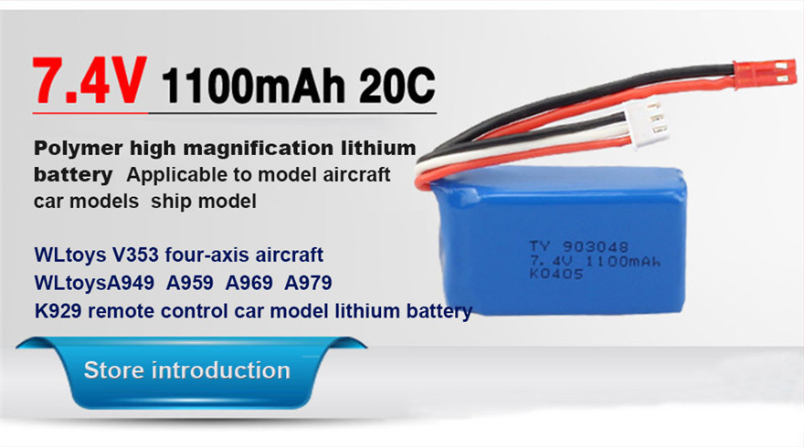Drone Batteries - LiPo 7.4V 1100mAh Lipo Battery for WeiLi A949 A959 A969 A979 AK929 RC Quadcopter DIY accessories MAY 31