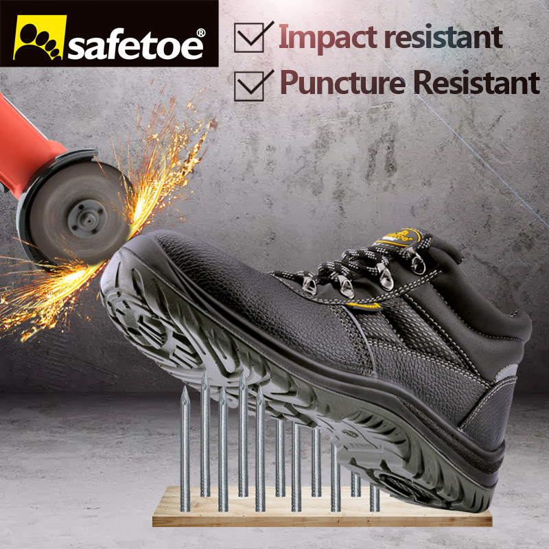 safetoe Safety Shoes Work Boots Men Steel Toe Cap Breathable Comfortable Anti-abrasion Oxford Mesh Hiking UK size 2-13 S3 SRC leather men steel toe cap work safety shoes anti smashing slip resistant breathable winter boots
