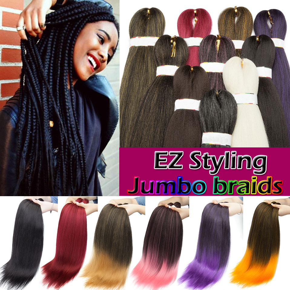 SNOILITE Long Ombre Jumbo Braids Hair Synthetic Crochet Braiding Hair Extension EZ YAKI Style Jumbo Hair For Black Women