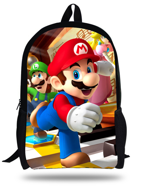 3bcb1783fa 16-inch Mochila Super Mario Backpack Children School Bags Boys Age 7-13  Cartoon Backpack Kids School Girls Escolares Infantis
