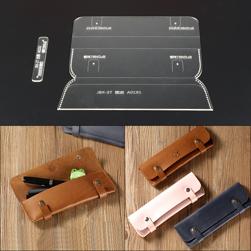 1Set Acrylic Leather Template Home Handwork Pen Bag Writing Case Leathercraft Sewing Pattern Tools Accessory 19*7*2cm