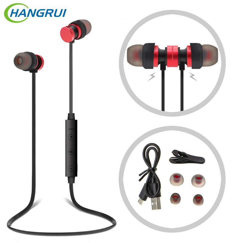 Hangrui Sport Bluetooth Earphone Wireless Hifi Hearphone Headset With Microphone Handsfree For IPhone For Samsung For Xiaomi new metal magnetic wireless bluetooth headphone sport headset hands fress hifi earphone with mic for iphone samsung phones