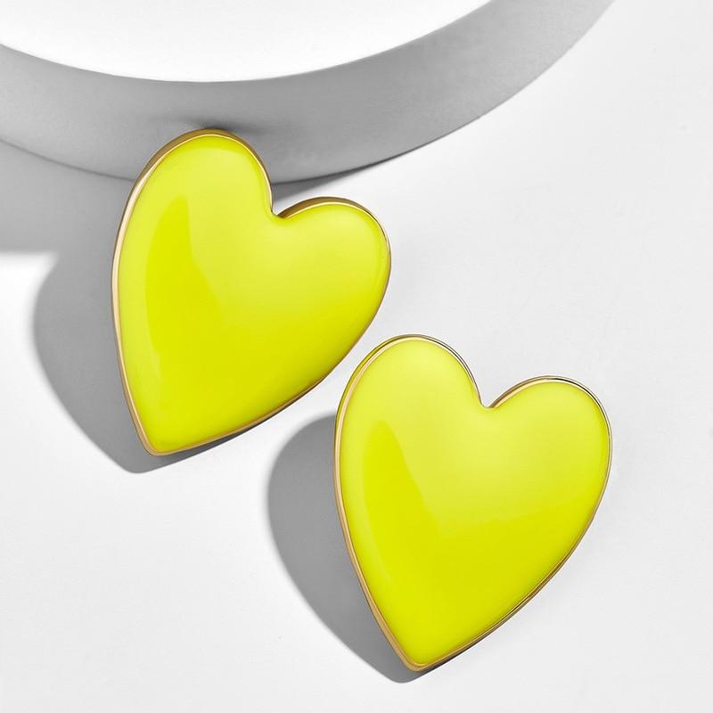 2020 Cute Fashion Black White Pink Yellow Enamel Heart Stud Earrings For Women Large Size All Match Love Heart Earrings