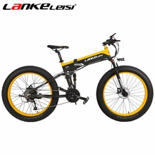 Фотография LANKELEISI New All-terrain Powerful Electric Bike 26*4 Fat 500W Motor 48V10AH Ebike 27 Speed Snow MTB Folding Electric Bicycle