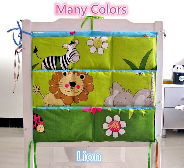 Promotion! Kitty Mickey Brand Baby Cot Bed Hanging Storage Bag Crib Organizer 60*50cm Toy Diaper bag Pocket for Crib Bedding Set