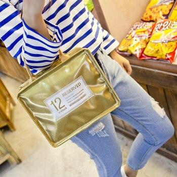 efd270623a00 Высокое качество ПВХ сумки для обедов для женщин водостойкие Tote еда Пикник  Изоляции Сумка Термосумка