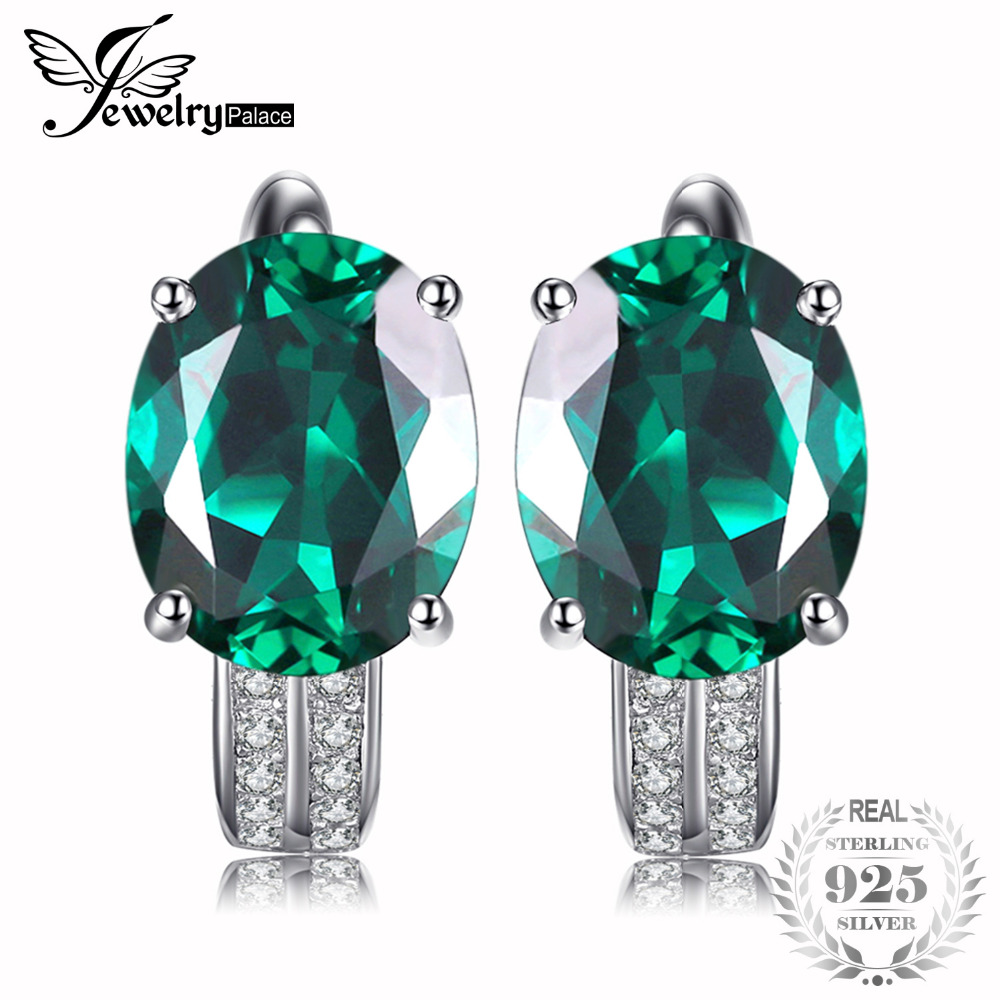 JewelryPalace 3.5ct Simulated Green Nano Russian Emerald Earrings 925 Sterling Silver Vintage Charm Fine Jewelry Party Gift