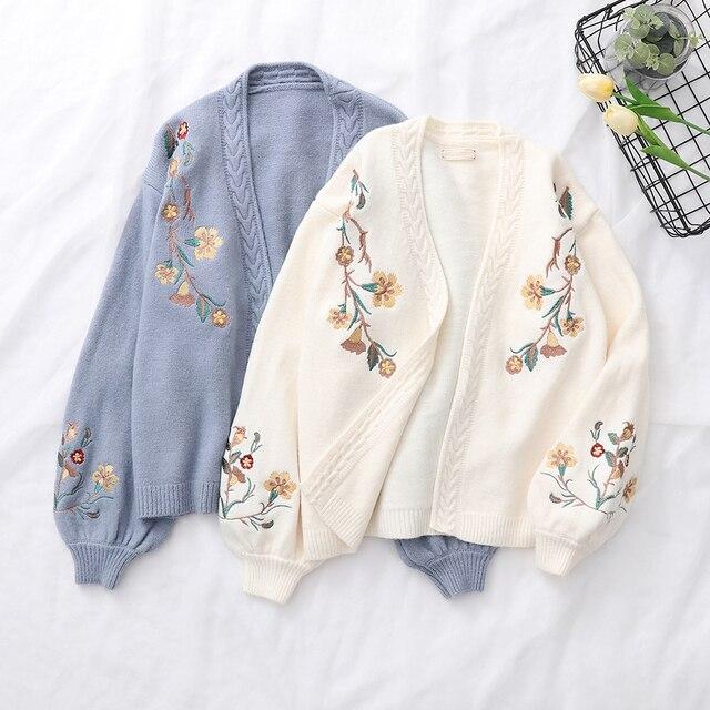 Suéter de punto con bordado de flores y manga linterna de muelle, cárdigans de punto, estilo Preppy, holgado, con cuello en V, para otoño