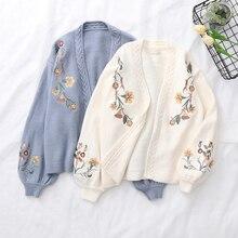 Wiosna latarnia z długim rękawem haft w kwiaty sweter z dzianiny swetry rozpinane jesień styl preppy styl mori girl uczeń z dekoltem w kształcie litery v luźny kardigan
