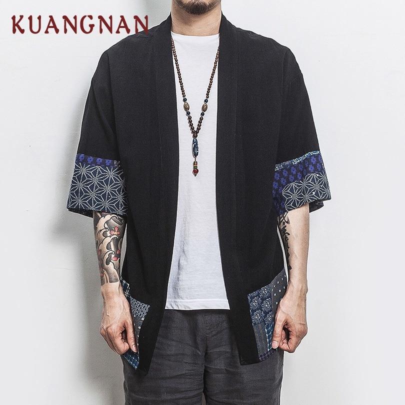 KUANGNAN Chinese Style Kimono Men Shirt Half Sleeve Casual Streetwear Men Shirt Man Linen Kimono Shirt Men Clothes 2019 New