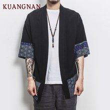 454f44ad0be1ab KUANGNAN Chiński Styl Kimono Mężczyźni Koszula Połowa Rękawem Casual  Streetwear Mężczyźni Shirt Człowiek Pościel Kimono Koszula
