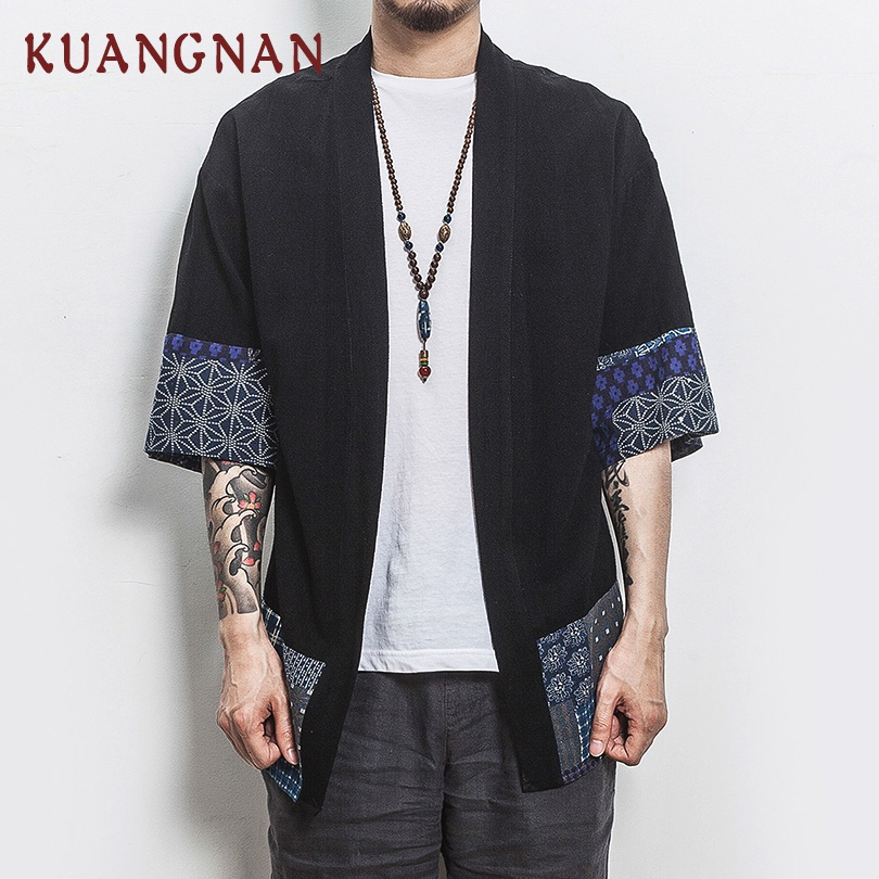 KUANGNAN estilo chino Kimono hombres camisa media manga Casual Streetwear hombres camisa hombre Lino Kimono camisa ropa de los hombres 2018 nuevo