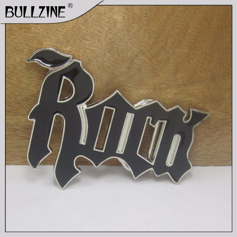 Bullzine ROCK belt buckle with silver finish FP-03449 suitable for 4cm width belt
