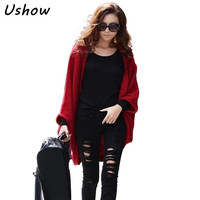 5Colors Korea Loose Shawl Batwing Sleeves Lady Knit Sweater Coat Woolen Women Cardigans Red Black