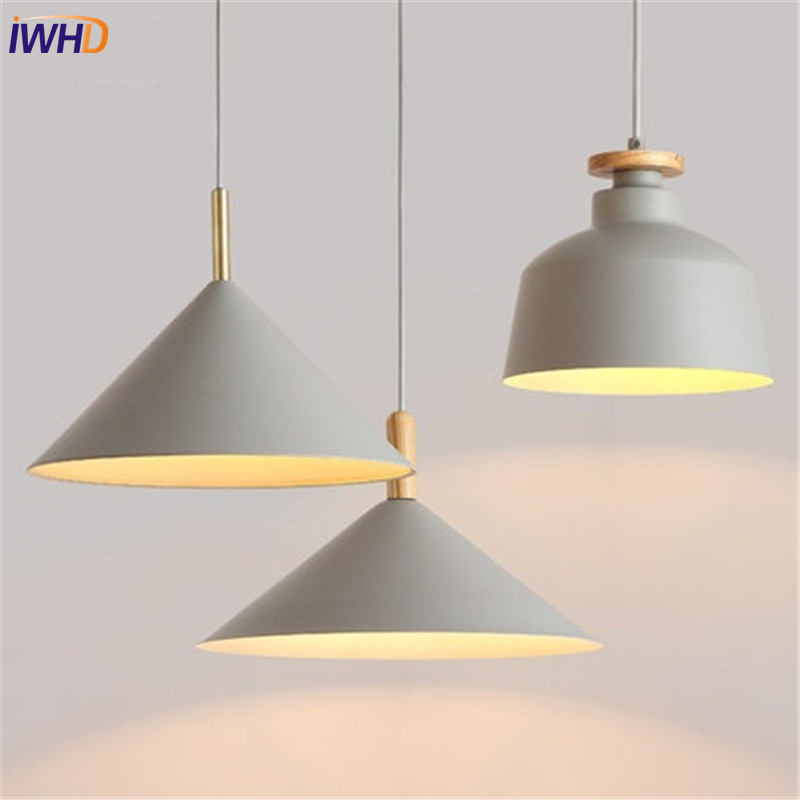 IWHD Nordic Simple Style Droplight Modern LED Pendant Light Fixtures Dining Room Creative Iron Hanging Lamp Indoor Lighting modern simple european style dining room lighting american hollow carved iron bedroom pendant lights