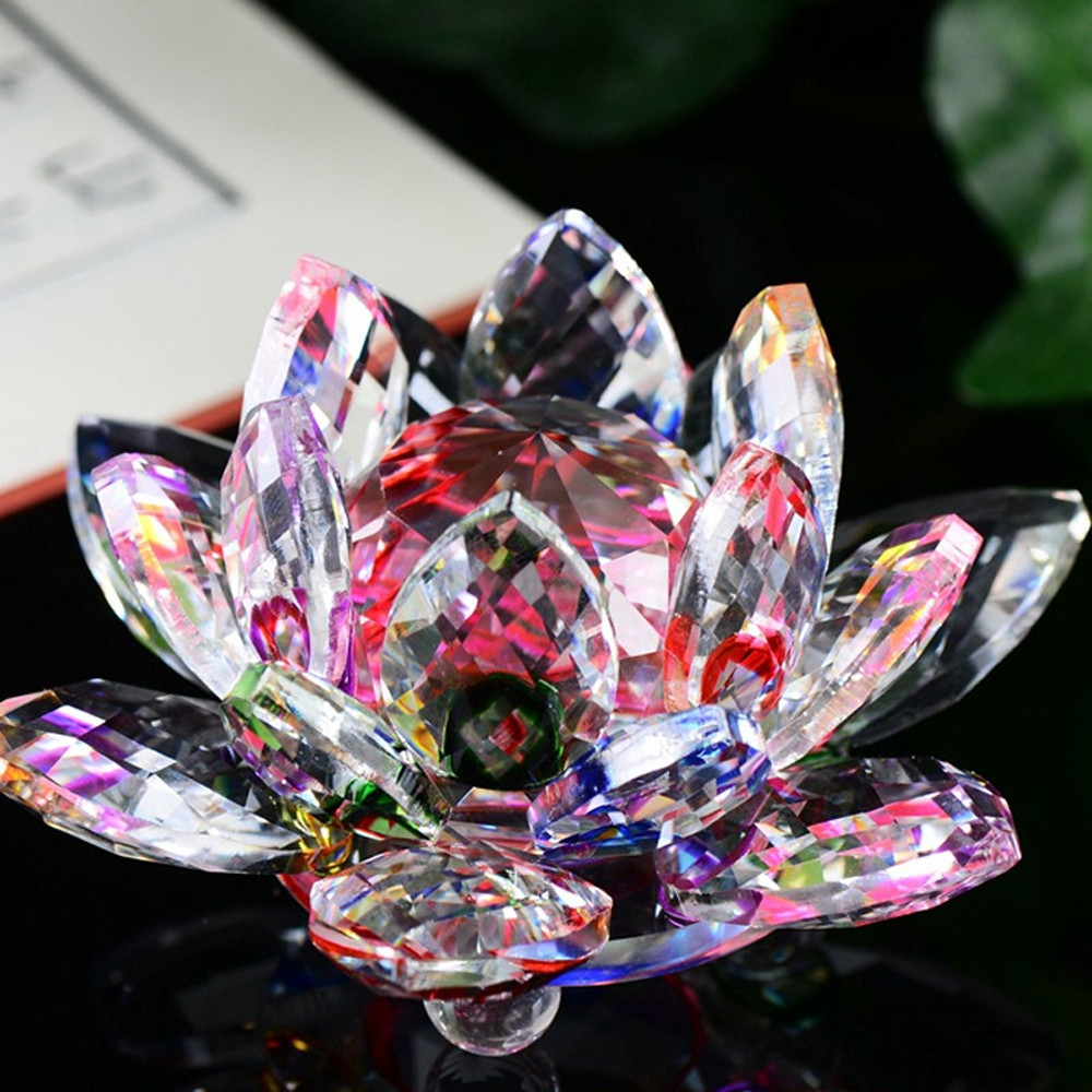 3d Lotus Crystal Glass Home Decoration Paperweight Ornament Feng