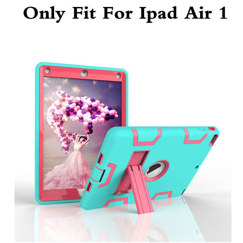 New Drop Shock Proof Cover For Apple iPad Air 1 Cases Kids Children Safe Silicon Plasic Case for iPad Air1 ipad5 Protective Case drop shock proof eva smart cover for apple ipad pro 9 7 inch cases kids children safe silicon for ipad pro 9 7 protective case