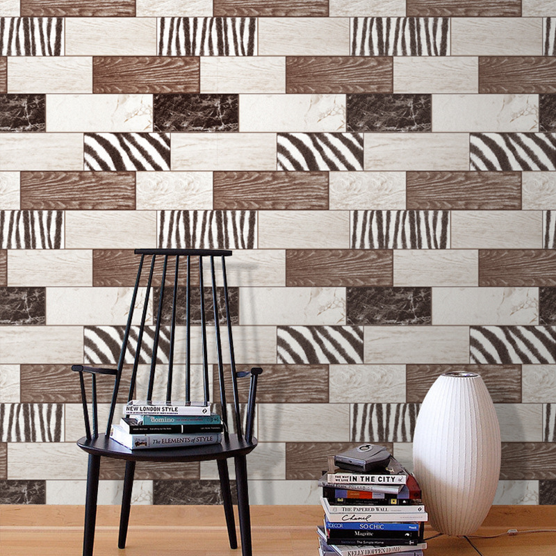 Wood grain brick 3D wallpaper roll modern vintage wall paper pvc vinyl Wall covering bedroom TV Sofa live room Home Background new modern black wallpaper striped purple and silver glitter wall paper roll for wall living room bedroom tv sofa background