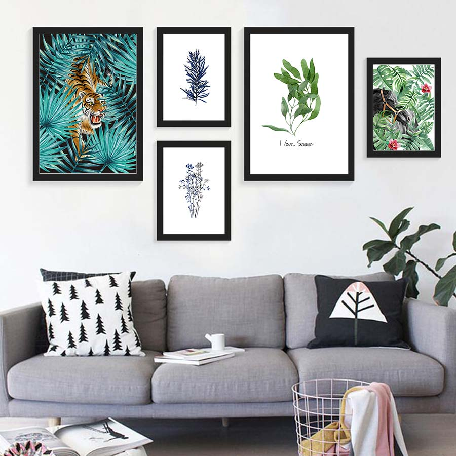online get cheap floral framed art aliexpress com alibaba group nordic floral watercolor tropical leaf animals canvas art print poster wall pictures for living room home