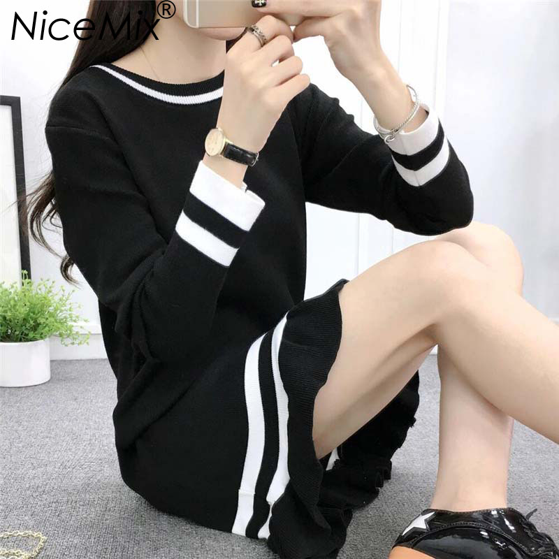 NiceMix 2017 Autumn Winter Basic Dress Women Long Knitted Sweater Dresses Kawaii Striped Loose Vestidos