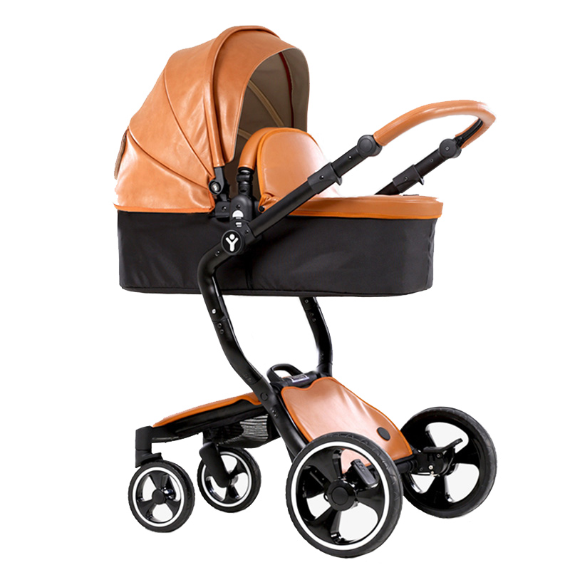 foofoo brand european luxury pu leather baby stroller high view prams folding car poussette. Black Bedroom Furniture Sets. Home Design Ideas