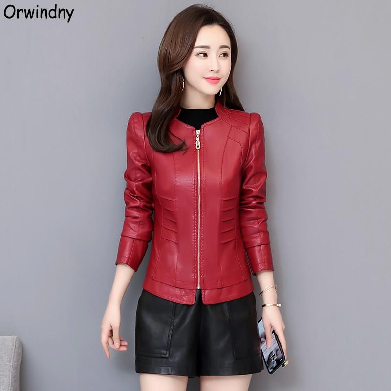 Orwindny Spring Casual Slim   Leather   Jacket Women Autumn Short   Leather   Coat Zipper Regular Clothing Ladies Plus Size 3XL