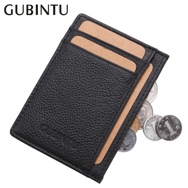 Super Thin 100% Cow Genuine Leather Black Credit Card Wallets Men Mini Card Holder Male Small Wallet Slim Man Card Cover Purse