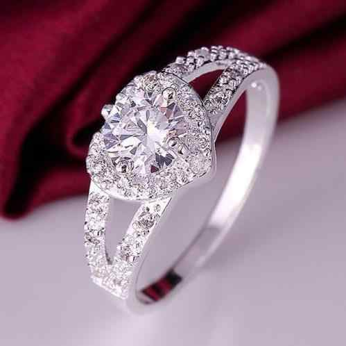 Fashion Crystal Heart Shaped Wedding Rings For Women Rose Gold elegant Engagement rings Zircon silver color Glamour gift jewerly