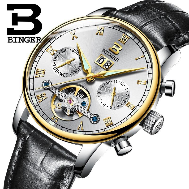 Switzerland BINGER men's watch luxury brand Tourbillon fulll stainless steel water resistant Mechanical Wristwatches B-8604-8