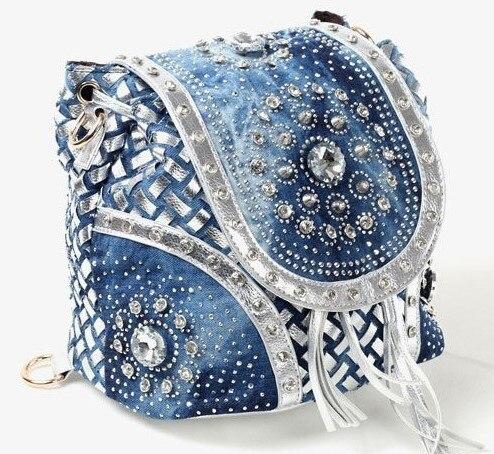 QIAN YI YUAN Brand backpack Fashion Denim Double shoulder high quality Diamonds Rivet Inclined shoulder bag Ms. style of bag цена и фото
