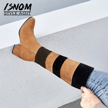 ISNOM Winter Cow Suede Women Boots Stitching Round Toe Zip Footwear Thick High Heels Female Boot Knee High Shoes Woman 2018 New