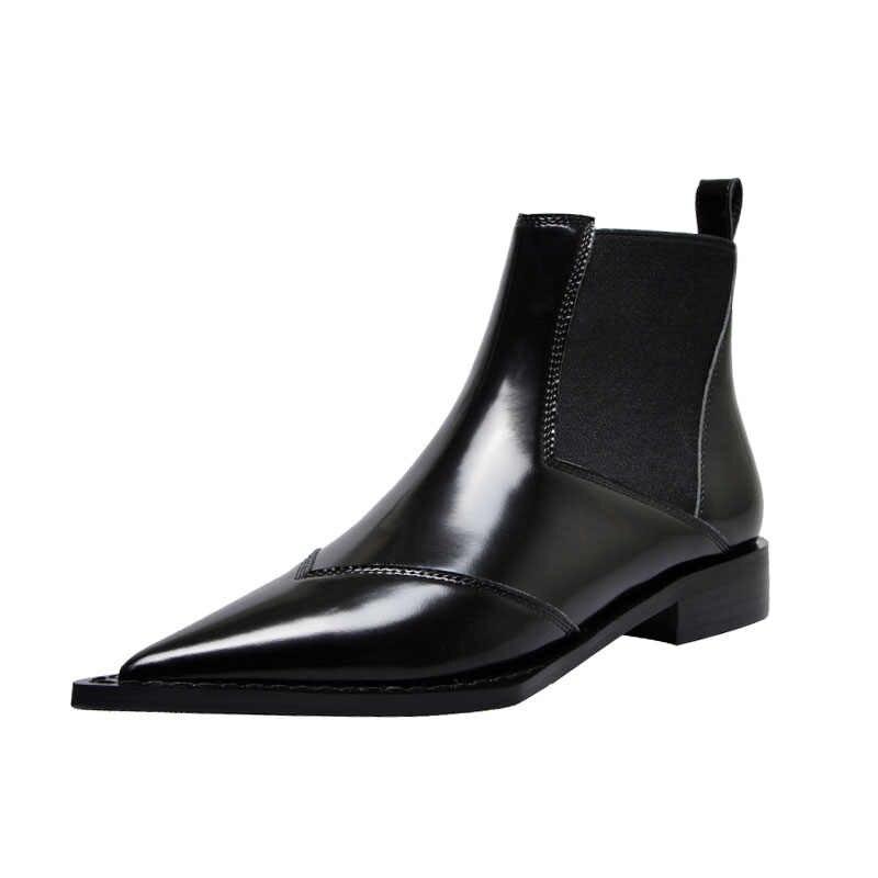 Gerçek deri kadın yarım çizmeler sivri burun elastik bant kadın motosiklet botları Slip-on düşük topuklu siyah ayakkabı kadın Botas Mujer