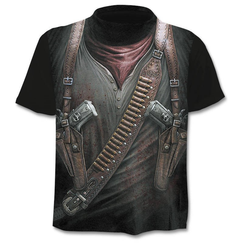 2019 New mens   t  -  shirt   skull   t  -  shirt   3D gun warrior knife Harajuku print   t     shirt   summer O-neck Gothic Punk vintage rock   t  -  shirt