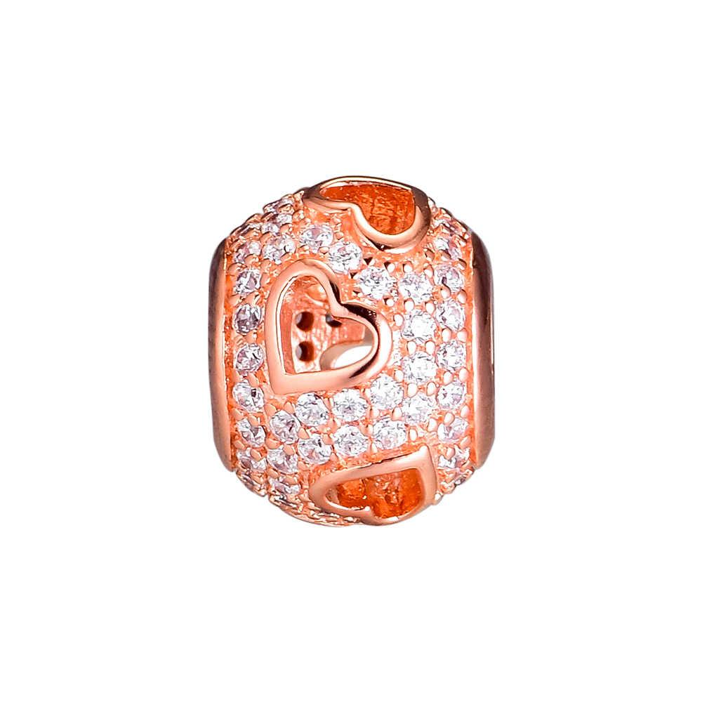 CKK Boncuk Charms Gül Altın Tumbling Kalpler Gümüş 925 Orijinal Pandora Bilezik Gümüş Takı Yapımı Charm Boncuk