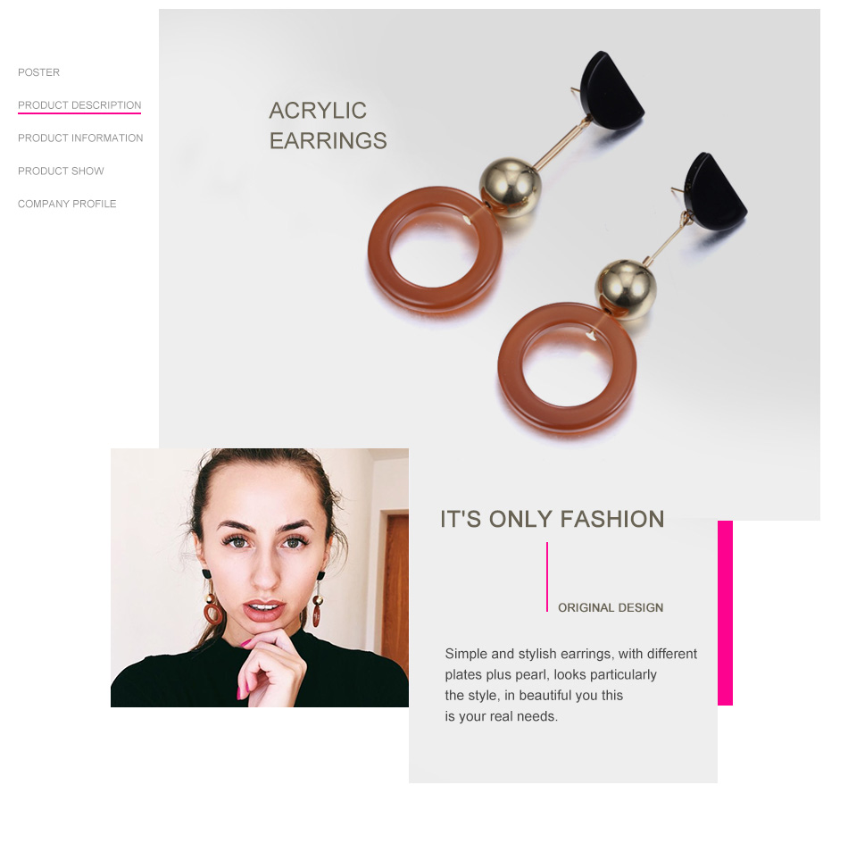 eManco Long Drop Earrings Coffee Color Beads Round Dangle Earrings for Women