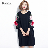 2017 New Summer Women Embroidery 3D Flowers Dress Casual Gorgeous Beautiful Loose Dress High Quality Biutefou