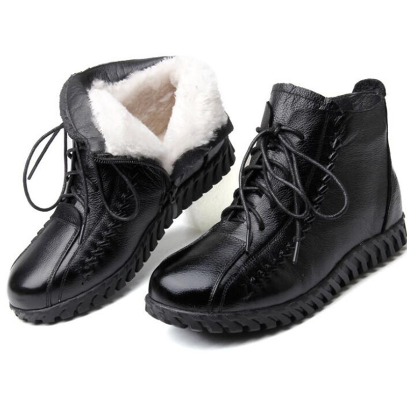100% natural full genuine leather boots for women shoes wool warm snow boots 2018 fashion winter women boots non slip flat boots 2018 Newest Warm Comfort Fur One Wool Shoes Snow Boots Women Boots Fashion Winter Boots Cow Leather Shoes Non-slip Flat Boots