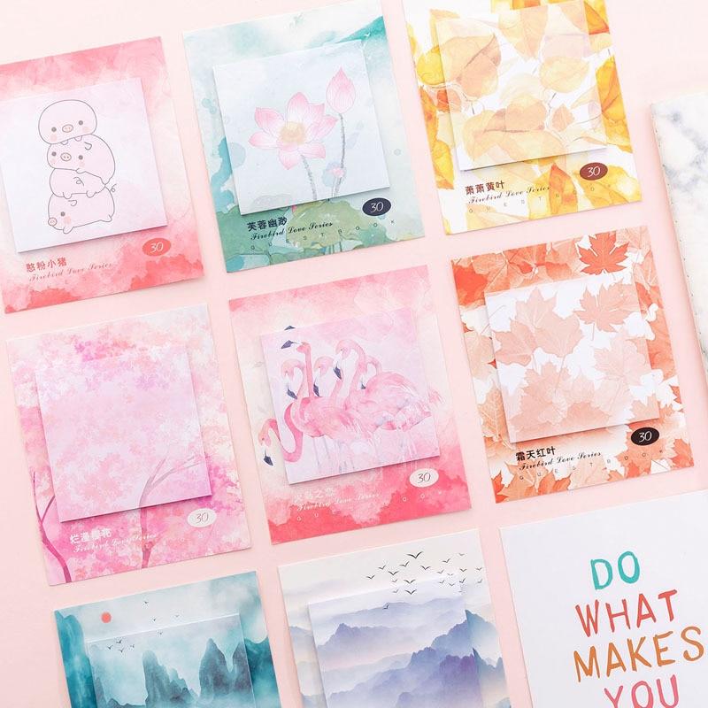 Kawaii Flamingo Love Sticky Notes Creative Office Decor Memo Pad Shipping Supplies Decoration Cute Japanese Stationery