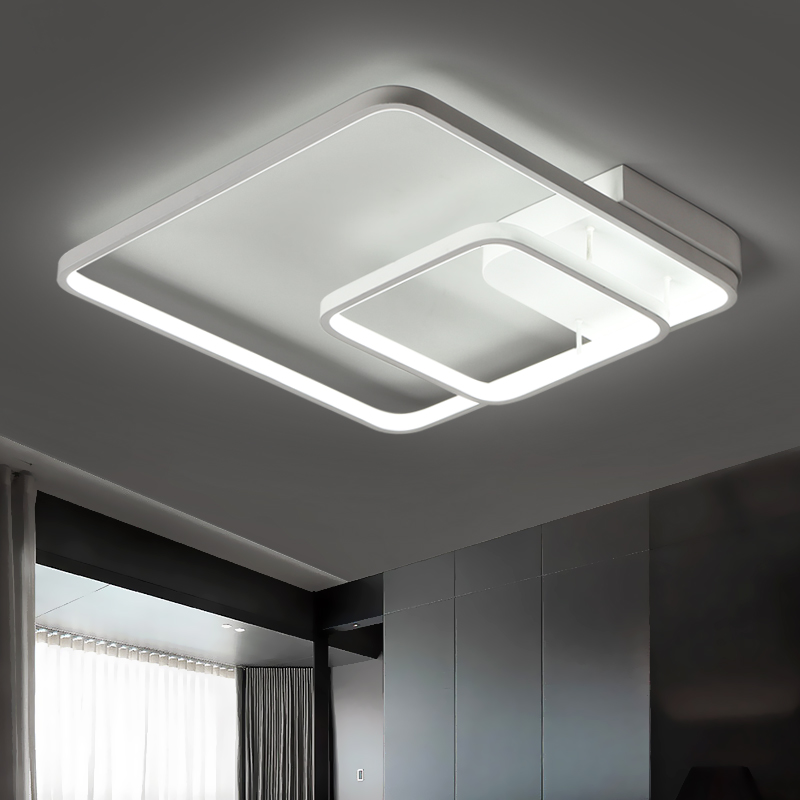 Surface Mounted Square Modern Led Ceiling Lights For Study Room Bedroom Indoor Home Aluminum Lampshade Led Ceiling Lamp Fixtures black or white rectangle living room bedroom modern led ceiling lights white color square rings study room ceiling lamp fixtures