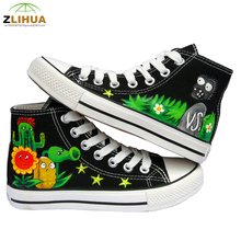 JUP 10 Styles Kids Graffiti Plants VS Zombies One Piece Fairy Tail Despicable Me Minion Hand-Painted Canvas Shoes for Boys Girls