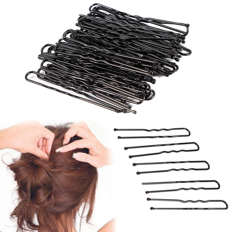 LOEEL 100Pcs/Lot Hair Clips Black U-shaped Hairpins Barrette Mini 4.5cm 5cm 6cm Metal Plated Brown Bobby Pins For Women Girls