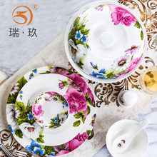Guci Tangshan Bone Porcelain Tableware Household Chinese Rice Bowl Plate Spoon Soup Pot Fish Free Matching