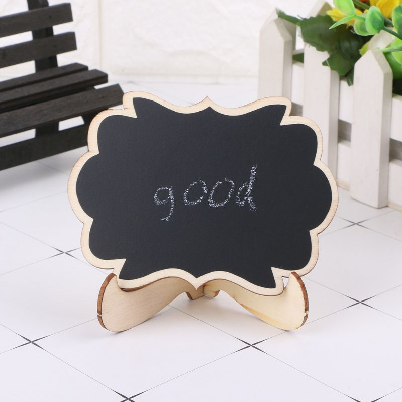 10pcs Wooden Mini Blackboard Butterfly Shape Table Sign Memo Message Stand Chalk Board Wedding Party Decoration Supplies