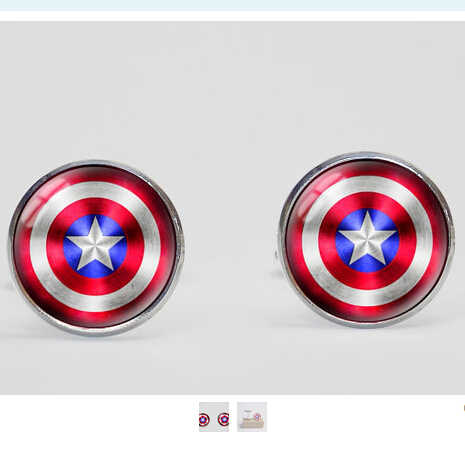 Fashion 1Pair mens Vintage Avengers Captain america Shield Cufflinks Cuff Link Wedding Accessories cufflinks Silver jewelry