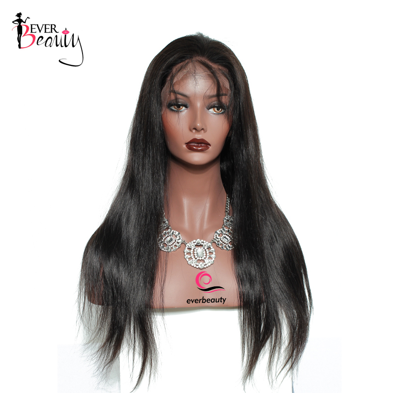 Brazilian Straight Full Lace front Human Hair Wigs With 4*4 Silk Top 130% Density Pre Plucked Silk Base Wigs Ever Beauty Remy