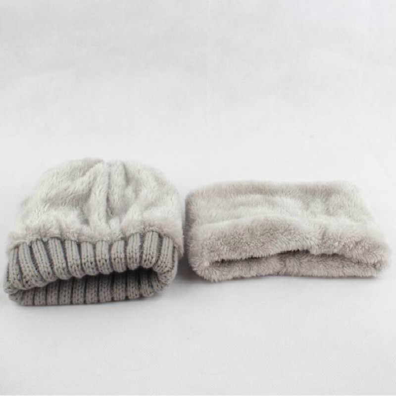 子供の帽子とスカーフセットリアルファーポンポン冬帽子スカーフセット子供のための少年少女の毛皮ポンポンニットネックウォーマキャップ