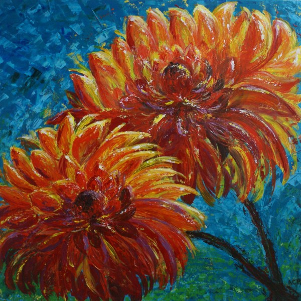 blossoming dahlias handmade oil painting with good texture and depth