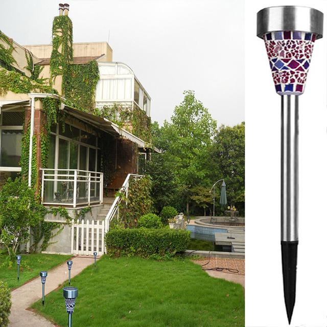 3PCS Solar Mosaic Stainless Garden LED Lamp