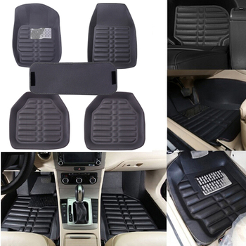 5Pcs/set universal grey car floor mats auto floor liner leather carpet mat image
