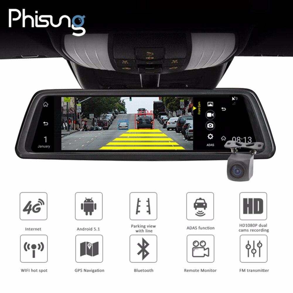 Phisung V9 10in Tactile FHD 1080 p Voiture DVR Caméra DVR Rétroviseur Caméra 4g WIFI Nuit Vision android GPS Double Objectif Dash Cam